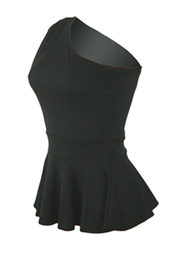 Lovely Stylish One Shoulder Ruffle Black Blouse