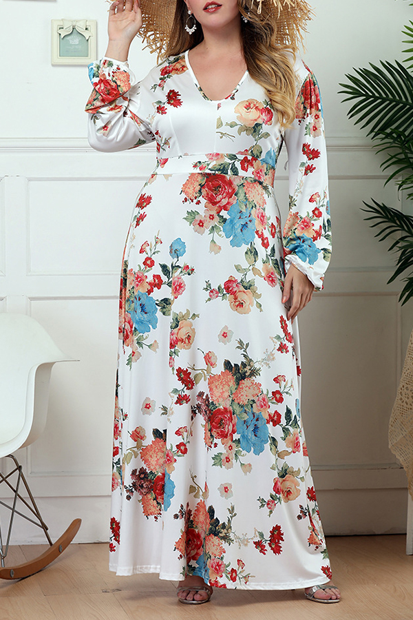 Lovely Bohemian U Neck Floral Printed White Floor Length A Line Plus Size Dress фото