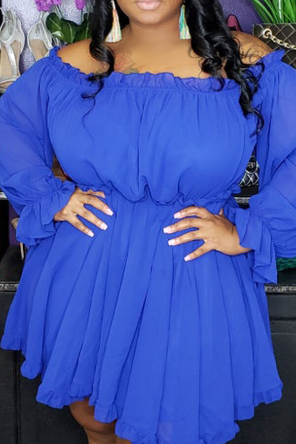 Lovely Stylish Off The Shoulder Ruffle Blue Mini A Line Plus Size Dress