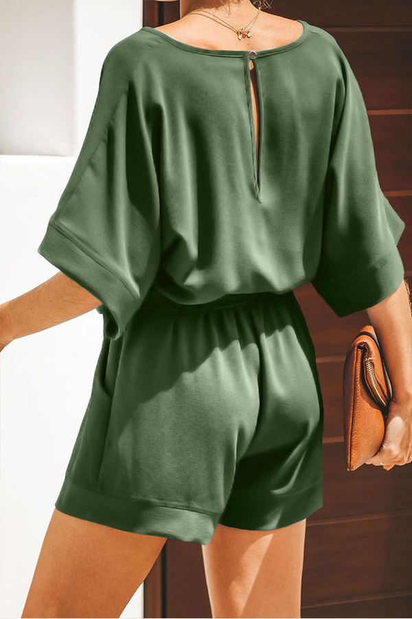 Lovely Casual V Neck Army Green One-piece Romper