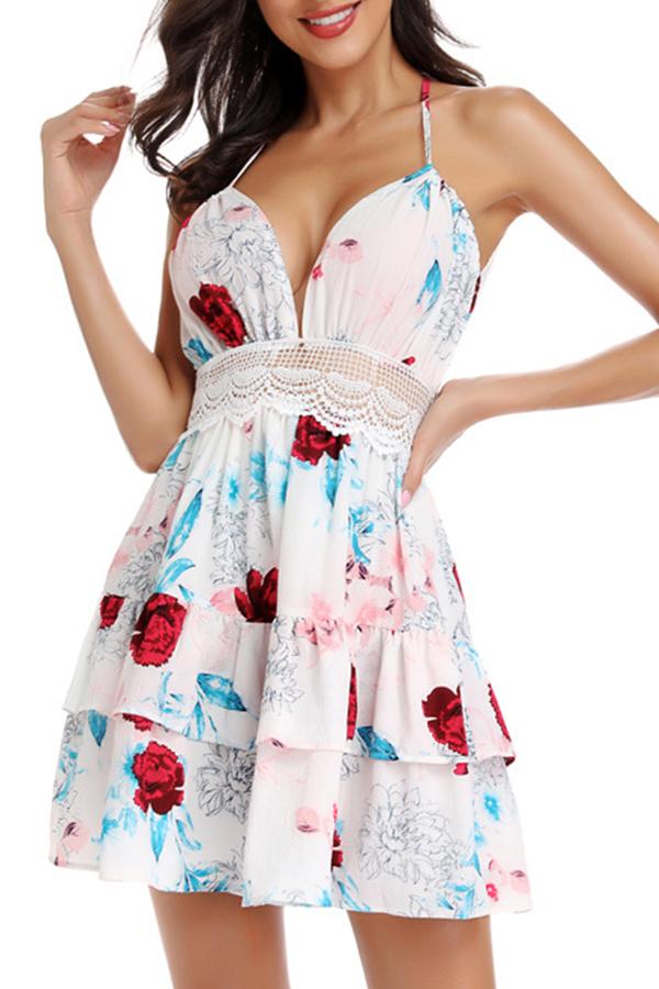 Lovely Sexy Halter V Neck Printed Creamy-white Mini A Line Dress