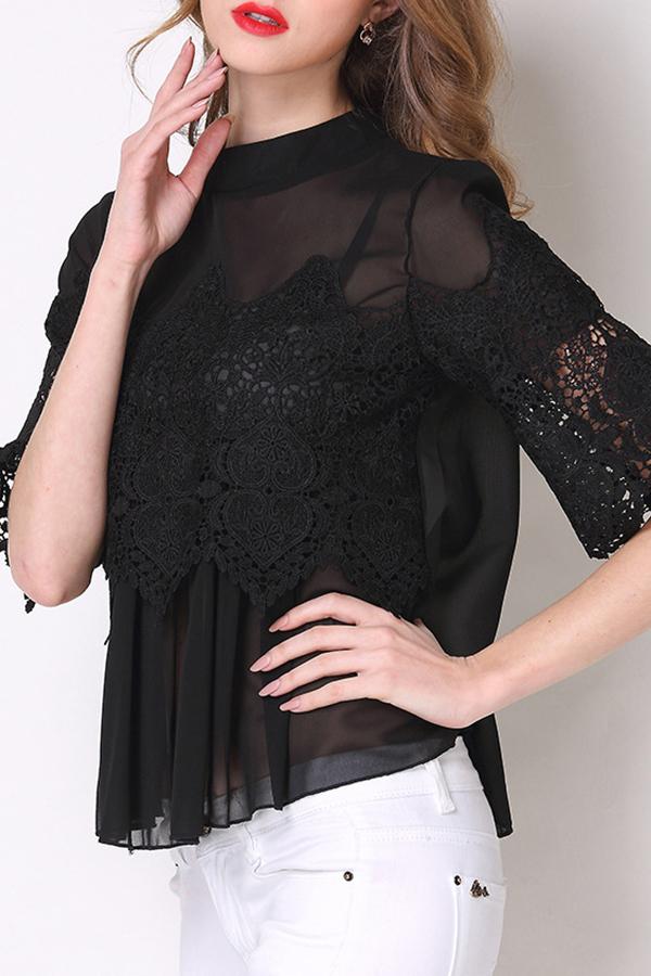 Lovely Stylish O Neck Lace Patchwork Black Blouse