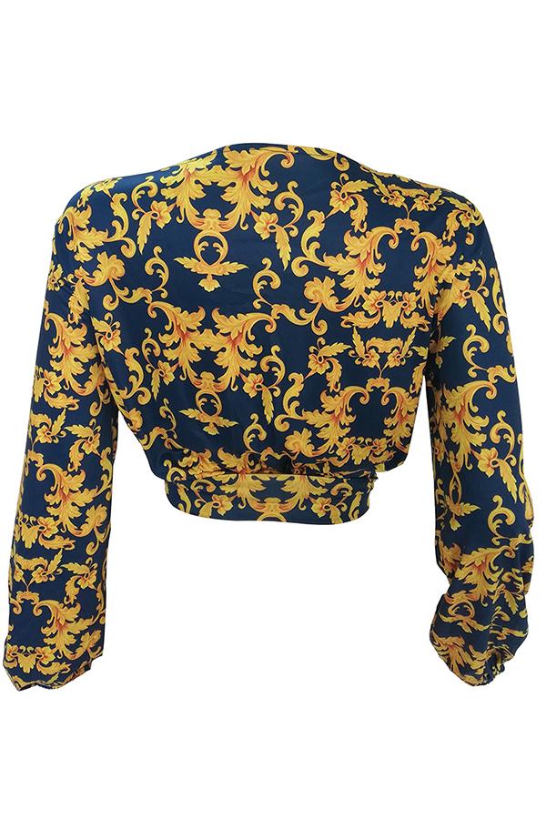Lovely Stylish V Neck Printed Gold Blouse