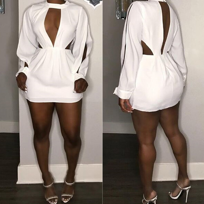 Lovely Sexy O Neck Hollow-out White Mini Dress