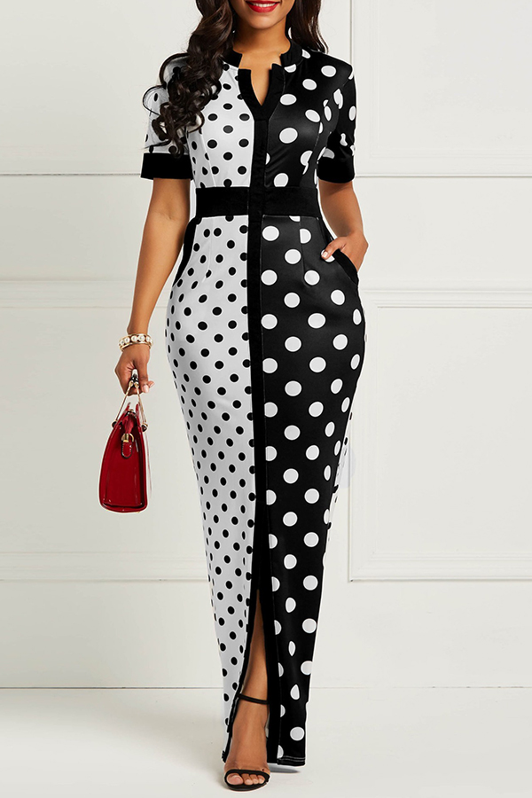 Dress Lovely Casual Dot Printed Patchwork Black Floor Length