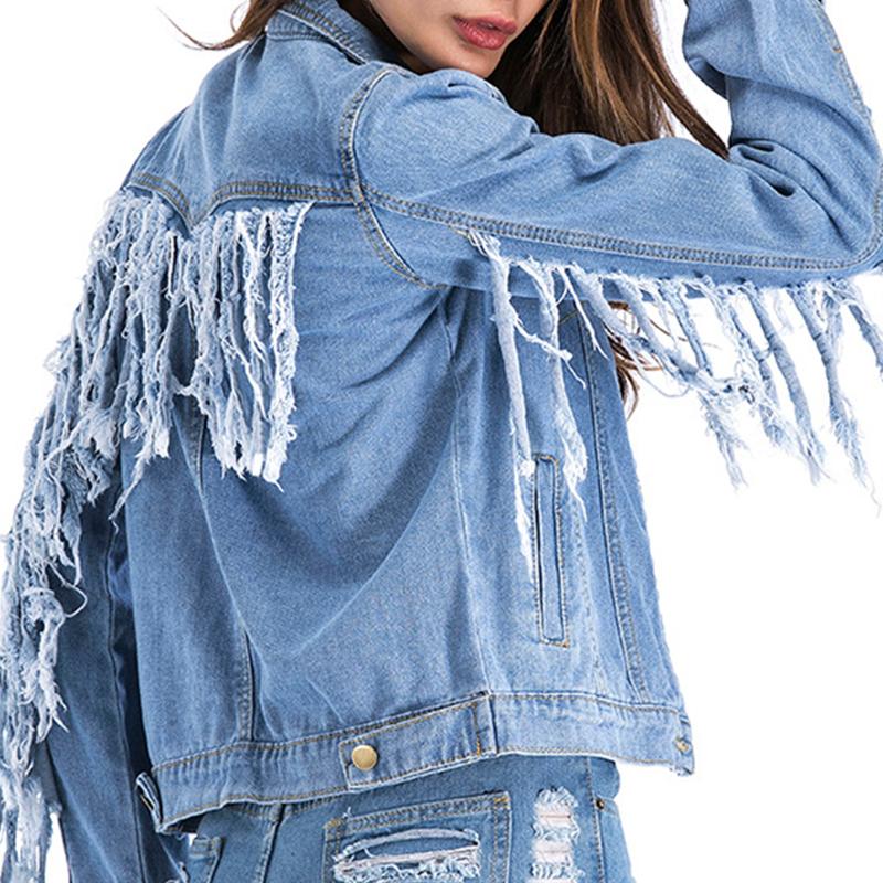 Lovely Casual Tassel Design Baby Blue Denim Coat