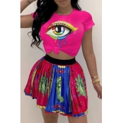 Lovely Casual O Neck Printed Rose Red T-shirt