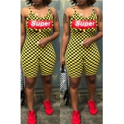 Lovely Casual Letter Plaid Printed Patchwork Yellow One-piece Romper