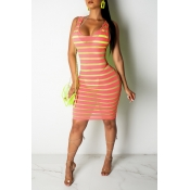 Lovely Casual U Neck Striped Printed Rose Red Mini Dress