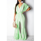 Lovely Sweet Flounce Design Striped Green One-piece Jumpsuit
