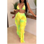 Lovely Printed Ruffle Design Yellow Two-piece Swimwear