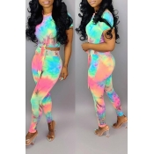 Lovely Casual Tie-dye Printed Two-piece Pants Set