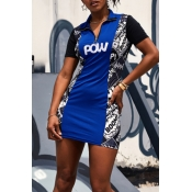 Lovely Casual Printed Patchwork Blue Mini Dress