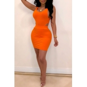 Lovely Sexy Hollow-out Orange Two-piece Skirt Set