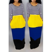 Lovely Bohemian O Neck Striped Patchwork Yellow Floor Length Maxi Dress