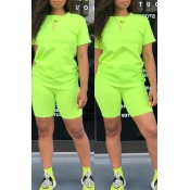 Lovely Casual O Neck Green Two-piece Shorts Set