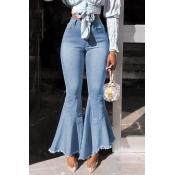 Lovely Stylish High Waist Zipper Design Blue Jeans