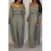 Lovely Casual  U Neck Grey Two-piece Pants Set (Wi