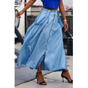 Lovely Casual Button Decorative Blue Ankle Length