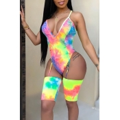 Lovely V Neck Printed Yellow One-piece Swimwear