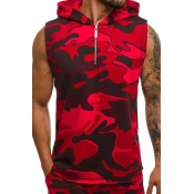 Lovely Casual Hooded Collar Camouflage Printed Red