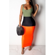 Lovely Casual U Neck Patchwork Multicolor Ankle Length Dress