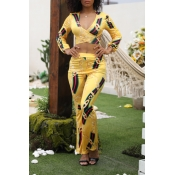 Lovely Casual V Neck Printed Yellow Two-piece Pants Set
