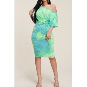 Lovely Casual O Neck Printed Lace-up Green Knee Le