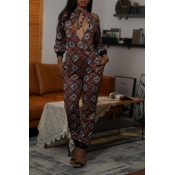 Lovely Casual Printed Hollow-out Coffee One-piece