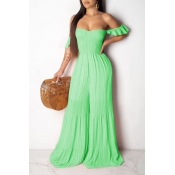 Lovely Sweet Off The Shoulder Green One-piece Jumpsuit