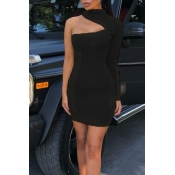 Lovely Stylish One Shoulder Hollow-out Black Knee