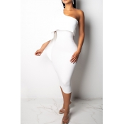Lovely Stylish One Shoulder White Knee Length Prom