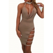 Lovely Sexy Halter V Neck Backless Khaki Mini Prom Dress