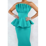 Lovely Sweet Off The Shoulder Ruffle Design Green