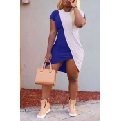 Lovely Casual O Neck Patchwork Blue Asymmetrical Mini Dress