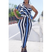 Lovely Trendy One Shoulder Striped Blue One-piece