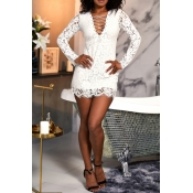 Lovely Sexy V Neck Hollow-out Lace Patchwork White