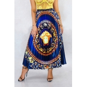Lovely Ethnic Style Totem Printed Blue Ankle Lengt