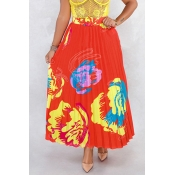 Lovely Stylish  Printed Red Ankle Length A Line Skirt