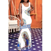 Lovely Ethnic Style U Neck Totem Printed White Flo