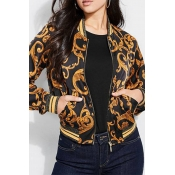 Lovely Casual O Neck Printed Patchwork Black Jacke