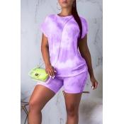 Lovely Casual O Neck Tie-dye Light Purple Two-piece Shorts Set