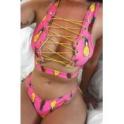 Lovely Printed Hollow-out Light Pink Swimwear