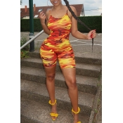 Lovely Casual Spaghetti Straps Printed One-piece R