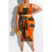 Lovely Casual Tie-dye Croci Plus Size Two-piece Skirt Set
