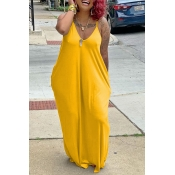 Lovely Casual V Neck Yellow Ankle Length Dress