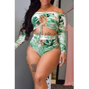 Lovely Printed Hollow-out Green Two-piece Swimwear