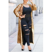 Lovely Stylish Sequins Decoration Gold Coat
