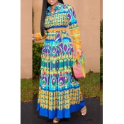 Lovely Bohemian Printed Blue Ankle Length A Line P
