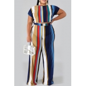 Lovely Casual O Neck Striped Printed Royalblue Plu